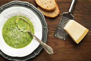 A bowl of asparagus soup isn't complete without parmesan.