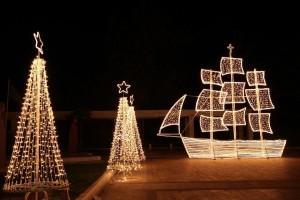 Christmas ship and trees at night