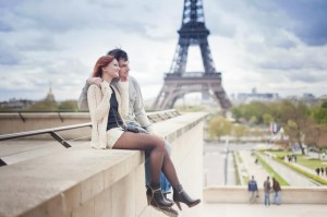 Loving couple near the Eiffel Tower in Paris