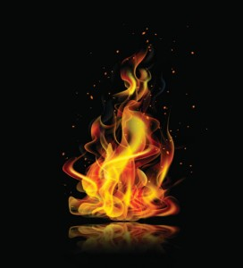Realistic fire on a black background with reflection